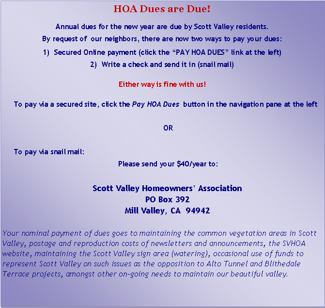 Text Box: HOA Dues are Due!
